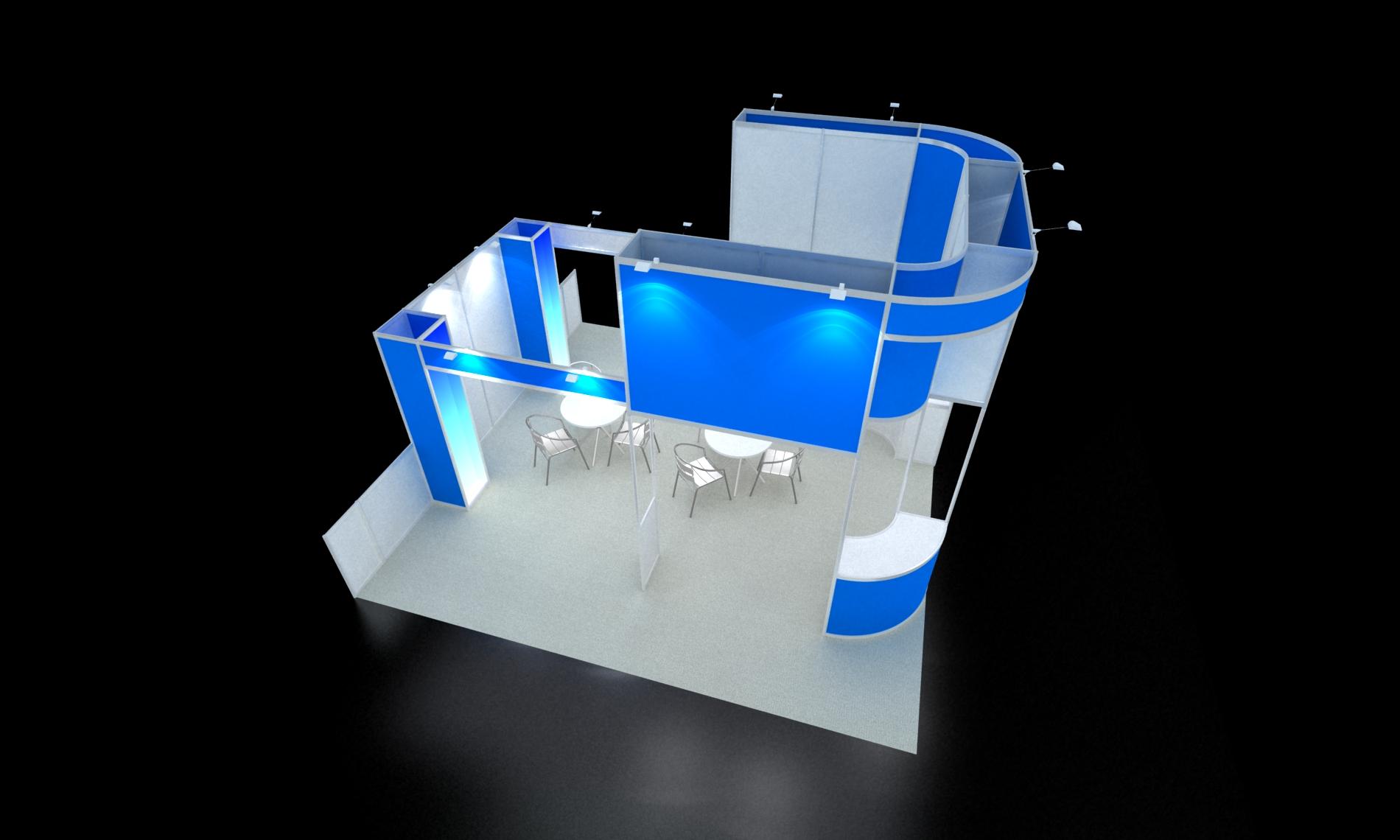 家居展36平三开铝型材展台搭建效果
