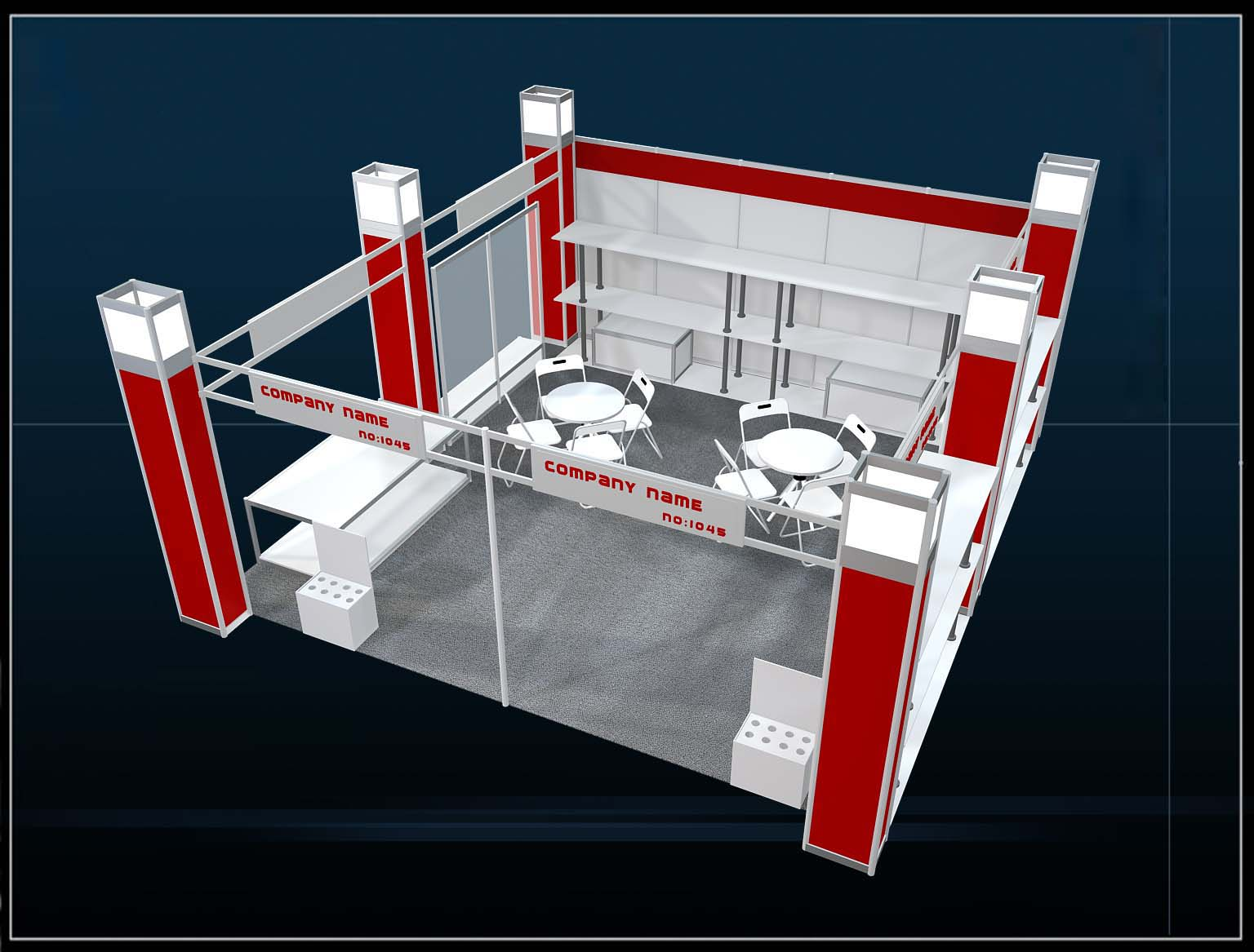 汽配展36平三开铝型材展位设计效果图